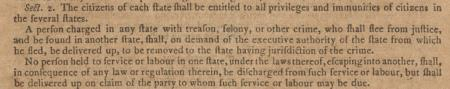 The fugitive slave clause in Article 4, Section 2 of the US Constitution. (Gilde