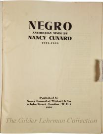 Negro anthology made by Nancy Cunard 1931-1933