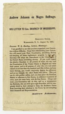 Andrew Johnson on Negro Suffrage. His letter to Gov. Sharkey of Mississippi.