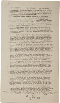Press release of last Presidential Address re: death of FDR, end of WWII, Korea