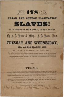 178 Sugar and Cotton Plantation Slaves!... [Slave sale catalogue from Waverly and Meredith plantations]