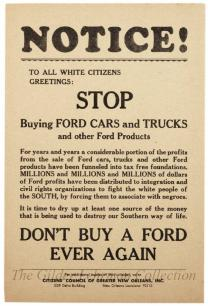Don't Buy A Ford Ever Again. From the New Orleans Citizens Council: To All White Citizens.