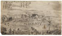 Pencil sketch of Union position -- during Pickett's charge, July 3, 1863