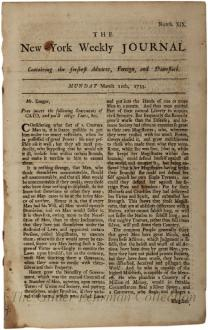 New-York weekly journal. [Vol. 932, no. 19 (March 11, 1734)]