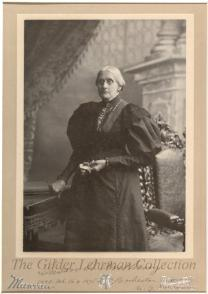 [Large 3/4-length portrait photography of Susan B. Anthony, taken by Theo C. Marceau in San Francisco].
