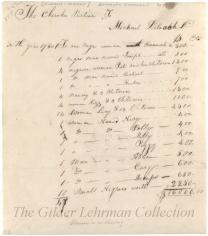 Bill of sale for 47 black slaves to Michael Deloach