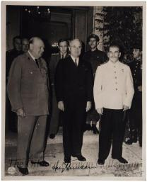 [Harry Truman, Winston Churchill, and Joseph Stalin at Potsdam]