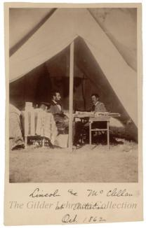 Albumen print of Lincoln & McClellan at Antietam [published by Gardner]