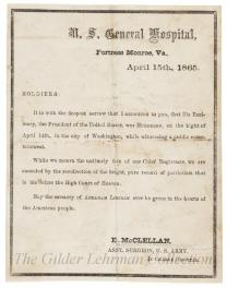 Announcement of death of Lincoln
