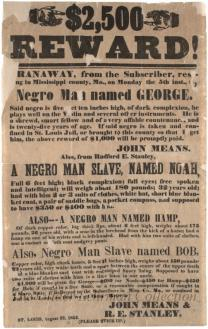 $2,500 Reward! Mississippi Co., Missouri broadside advertising runaway slaves