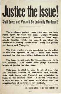 Justice the issue! Shall Sacco and Vanzetti be judicially murdered?