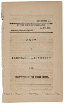 Copy of Proposed Amendment to the Constitution of the United States
