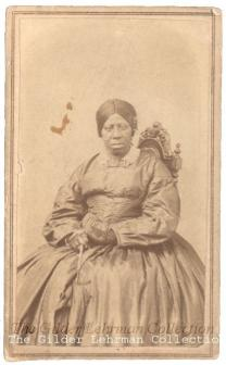 Anna Douglass, three quarter length seated carte de visite portrait