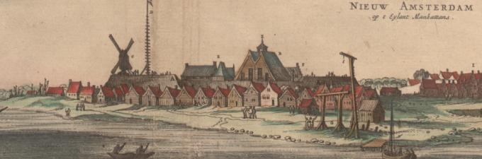 Nieuw Amsterdam, from a 1682 map of America by Nicholas Visscher. (Gilder Lehrma