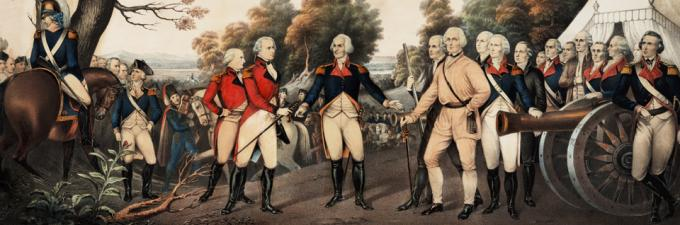 British General Burgoyne (center left) surrenders to General Hortatio Gates at Saratoga, NY, October 17, 1777, in this Currier and Ives print based on a painting by John Trumbull in the US Capitol (New York, 1852). (Gilder Lehrman Collection)
