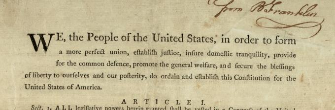 Preamble of the US Constitution, inscribed by Benjamin Franklin to Jonathan Williams, printed by Dunlap and Claypoole, September 17, 1787. (Gilder Lehrman Collection)