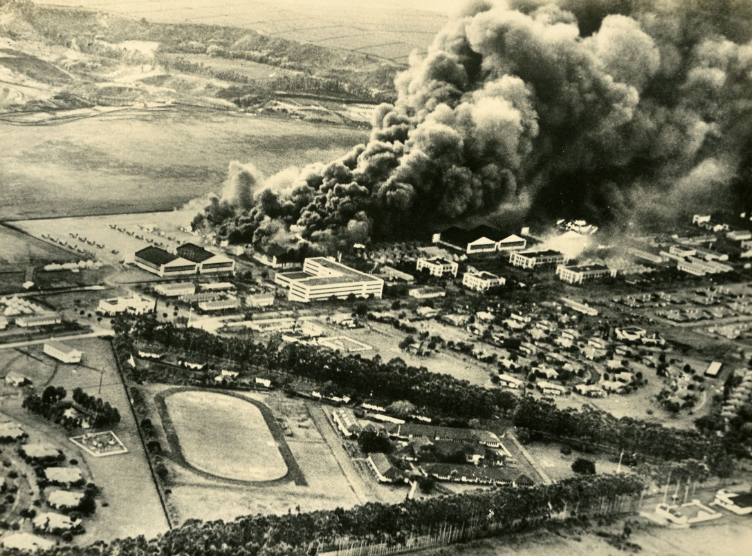 View from a  Japanese plane of the fire at Wheeler airfield at Pearl Harbor. The Gilder Lerhman Institute of American History, GLC09552.04)
